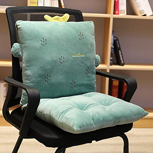 ChezMax Detachable Cartoon Animal/Fruit Polyester PP Cotton Filled Seat Back Chair Pad Thickened Rocking Chair Cushion Set with Ties for Home Office Dinning Chair Cactus