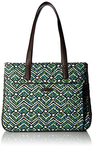 Vera Bradley Signature Cotton Commuter Tote Bag, Rain Forest with Brown