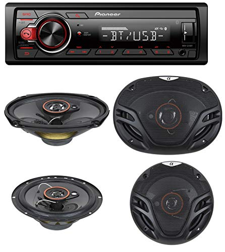 "Pioneer Stereo Single DIN Bluetooth In-Dash USB MP3 Auxiliary AM/FM/Digital Media Pandora and Spotify Car Stereo Receiver with Pair of 6.5"" and Pair of 6x9"" Alphasonik Speakers"
