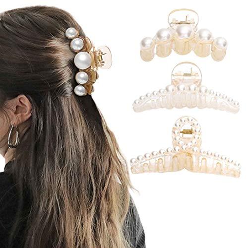 Nicute Haarklammern, Perlen, Haarspangen, dicke lange Haarklemmen, große Haarklammern, rutschfeste Haar-Accessoires für Frauen und Mädchen (3 Stück) (weiß)