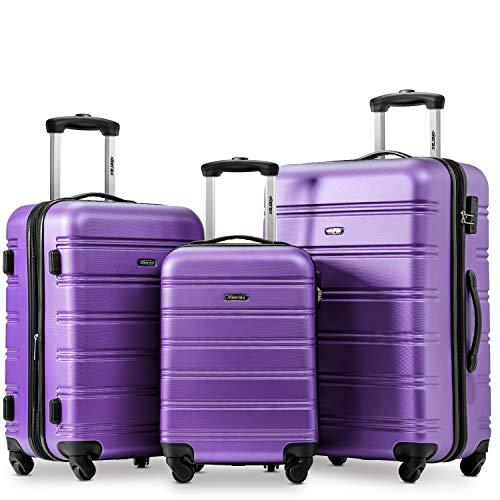 YINKUU Juego de 3 maletas ampliables y ligeras con 4 ruedas giratorias, de viaje, con bloqueo de maleta, color morado
