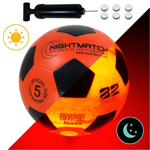NIGHTMATCH Light Up Football Flaming Red Edition INCL BALL PUMP and SPARE BATTERIES Inside LED lights up when kicked Glow in the Dark Soccer Ball Size 5 Official Size Weight