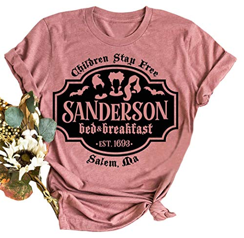 VKEGNIO Sanderson Sisters Halloween Shirt Women Sanderson Bed and Breakfast Tee Hocus Pocus Funny Tshirt Fall Casual Shirts (X-Large, Light Red)