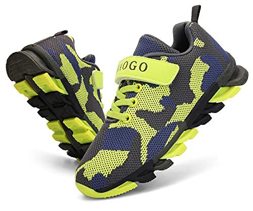 MAOGO Schuhe Kinder Sportschuhe Jungen Sneaker Camouflage Atmungsaktive Freizeitschuhe für Mädchen (L-Grün, Numeric_36)