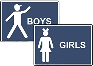 Girls Boys Restroom Sign Set, 10x7 in. Navy Plastic for Bathrooms by ComplianceSigns