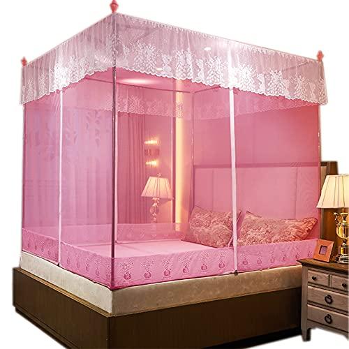 OKMNB Anti-Moskito-Bett-sitzendes Moskitonetz, dreitüriger Haustür-Reißverschluss 1,5 m Bett verdickter Edelstahlhalterung Moskitonetz pink-1.8 * 2m