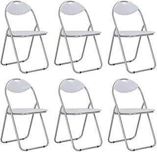 Juego de 6 sillas plegables, sillas de comedor plegables de piel sintética, asiento para oficina, cocina, dormitorio, invitados, cocina, dormitorio, etc. Color blanco, 44 x 43 x 80,5 cm