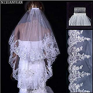 HXSD NIXUANYUAN 2020 Cheap Wholsale Two Layears White Ivory Wedding Veil Bridal Veil Short Tulle Veils Wedding Accessories (Color : Ivory)