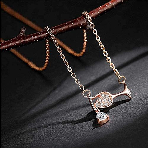 AOAOTOTQ Co.,ltd Collar Mujer S Cristal Circón Copa de Vino Colgante Collar de Diamantes de imitación Regalo Joyería de cumpleaños