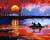 Rameur Coucher De Soleil Mer Eau Paysage Peinture Par Numéro Kits Bricolage Peint À La Main Peinture Par Numéros Numérique Peinture À L'Huile Moderne Abstrait Mur Art Photos Pour Salon Décoration