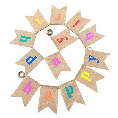 G2PLUS Happy Birthday Leinen Wimpel Girlande, 11.5 Fuß Vintage Hessischen Wimpelkette mit 13 STK Farbenfroh Wimpeln für Party Dekoration