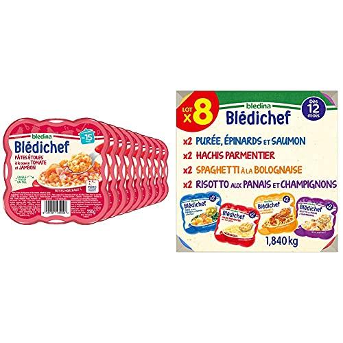 Blédina Blédichef Pâtes Etoiles à la Sauce Tomate/Jambon Dès 15 Mois 250 g - Pack de 9 & Blédichef, Repas bébé, Dès 12 Mois, 4 Recettes, 8x230g