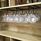 FURVOKIA Creative Mug Holder Under Cabinet Hooks,Upside Down Coffee Cups Hanging Rack,Organizer for Ties and Belts Storage Shelves (Black)
