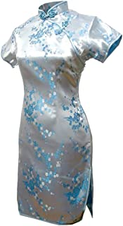 Shanghai Story Women's Floral Short Qipao Rayon Cheongsam Chinese Dress