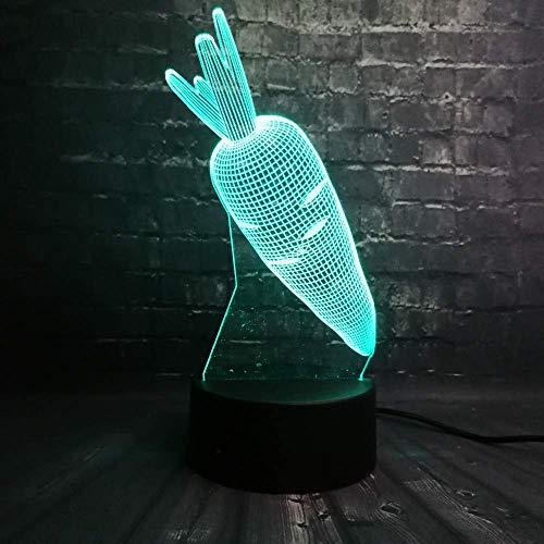 Carrot 3D Led Optical Illusion Smart Night Light, 7 colores que cambian USB Power Touch Switch Decoración Lámpara Mesita de noche Lámpara de escritorio Brithday Christmas Gift for Kids