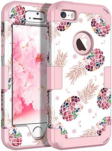 Casetego Compatible with iPhone 5 5S SE Case Floral Three Layer Heavy Duty Hybrid Sturdy Shockproof product image