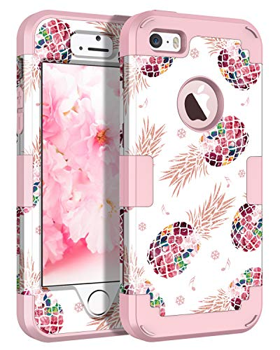 LONTECT Compatible iPhone SE Case iPhone 5/5s Case Floral 3 in 1 Heavy Duty Hybrid Sturdy High Impact Shockproof Protective Cover Case for Apple iPhone SE/5s/5, Pineapple/Rose Gold