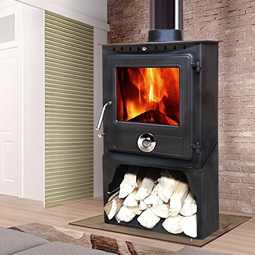 Lincsfire New Reepham 12KW Contemporary Woodburning Stove Multi Fuel Wood Burner Multifuel Fire Place with Log Store