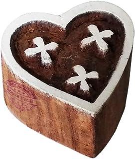 ختم خشبي على شكل قلب للطباعة بلوك, خشب, بني, TFtag011