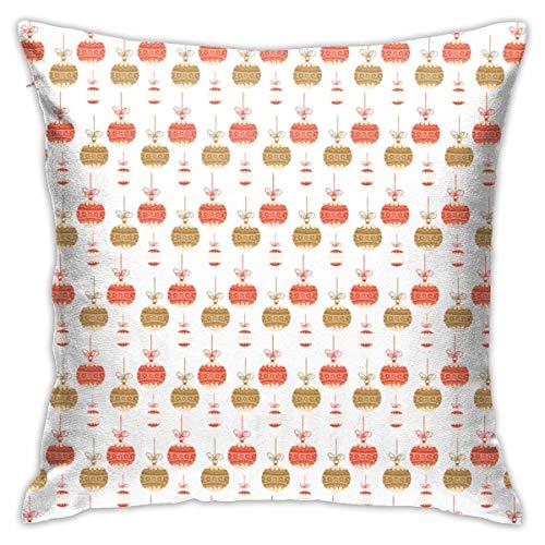 zhengchunleiX Funda de Almohada Christmas Colorful Decorative Ball Throw Cushion Cover Throw Pillow Cover Square Throw Pillow Case