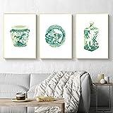 MKWDBBNM Acuarela Chinoiserie Jarrones Imprimir Ming Porcelana Esmeralda Asia Verde China Arte Lienzo Pintura Cartel del Este Arte de la Pared Decoración   35x50cmx3 Sin Marco