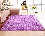 Shengwan Shaggy Alfombra de Pelo Larga para Salón Decoración Interior, Soft Antideslizante Sala de Estar Sofá o Dormitorio Alfombras Violeta Claro 80 * 120cm