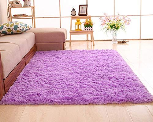 Shengwan Shaggy Alfombra de Pelo Larga para Salón Decoración Interior, Soft Antideslizante Sala de Estar Sofá o Dormitorio Alfombras Violeta Claro 100 * 160cm
