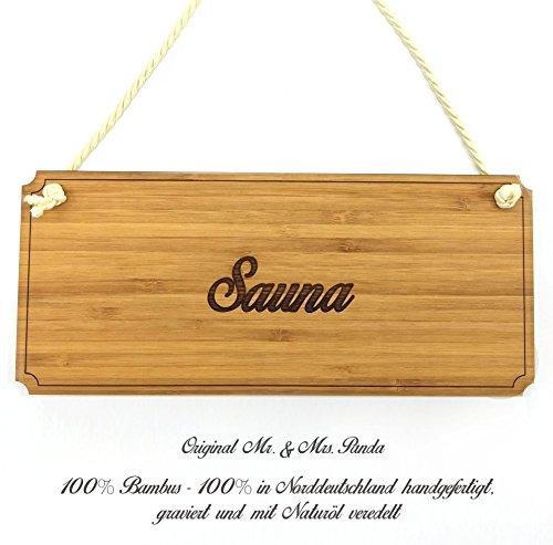 Mr. & Mrs. Panda Türschild Sauna Classic Schild - 100% handmade aus Bambus - Landhaus, Shabby, graviert Türschild, Schild, Türschild, Dekoschild, Deko, Einrichtung, Nostalgie, Geschenk Landhaus, Shabby, graviert