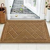 Color&Geometry Felpudo Entrada Casa Alfombra para Puertal Felpudos Atrapar Suciedad Interior y Exterior Alfombras Lavable Absorbente 90 x 150 cm, marrón