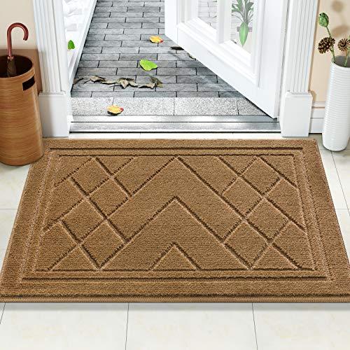 Color&Geometry Felpudo Entrada Casa Alfombra para Puertal Felpudos Atrapar Suciedad Interior y Exterior Alfombras Lavable Absorbente 50 x 80 cm, marrón