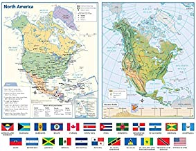 North America Political & Physical Continent Map with Country Flags - 17