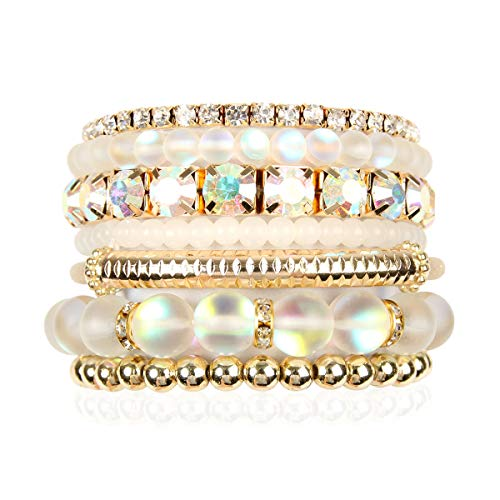 Multi Color Stretch Beaded Stackable Bracelets - Layering Bead Strand Statement Bangles (Mermaid Glass - White, 7)