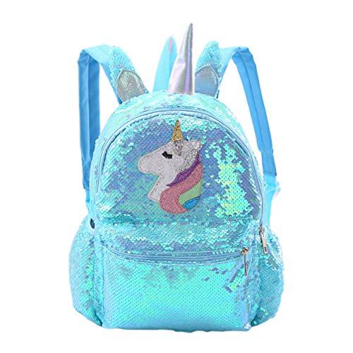 VALICLUD Zaino Reversibile con Paillettes Unicorno per Ragazza Donna Borsa da Scuola Glitter di Grandi Dimensioni Zaino Lucido da Viaggio Casual