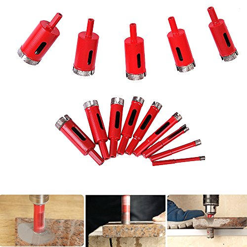 14Pcs 6-35mm Diamond Drill Bits Set, Marble Concrete Masonry Coated Hole Saw Sets Drilling Cutters Glass and Tile Hollow Core Drill Bits Extractor Remover Cutting Tools for Granite Ceramic Porcelain