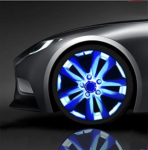 QIEI Auto-Rad-Felge-Licht-wasserdichte Sonnenenergie-LED-blinkende Lichter Auto-Reifen-Dekoration-Zusätze (4 PCS), Blue 2