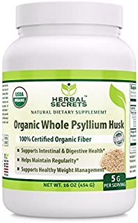 Herbal Secrets USDA Certified Organic Psyllium Husk 16 Oz (Non-GMO)- Vegan, Dairy Free, Gluten Free, no Sugar-Supports Intestinal & Digestive Health,Supports Healthy Weight Management*