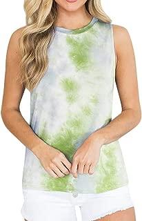 Women's Tie-Dye Gradient Vests, Zlolia Long Racerback Tunics Round Neck Casual Loose Tank Tops with Pocket(FBA)