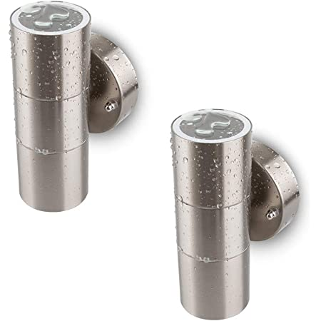 Modern Double Up Down Stainless Steel Wall Spot Light, Use GU10 (not Included), IP44 Waterproof, Pack of 2