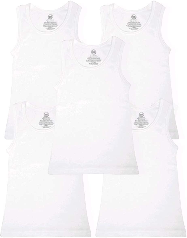 Wonder Nation Clothing Boy's White 5 Pack A-Shirt Tank Undershirt