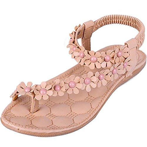 Donna Sexy Girls Estate Pantofole Boemia Fiore Tallone Scarpe Flip Flop Sandali Piatti Infradito ( Rosa EU 37 )