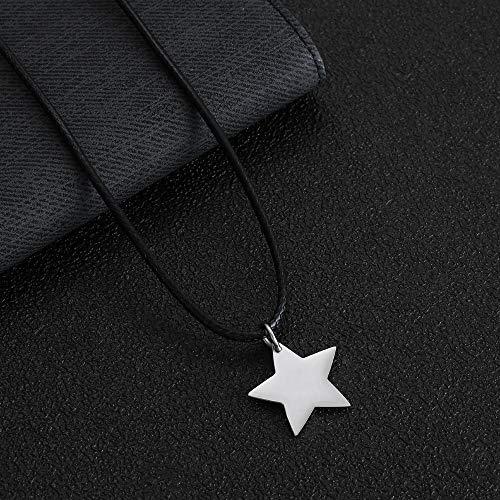 Collar Colgante Joyería Collar Colgante De Cadena De Cuerda De Cera De Corazón De Acero De Titanio 316L para Hombres Y Mujeres Regalos De Fiesta De Boda-Estrella