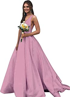 1dd6a484c334 Rjer V Neck Prom Dresses Long Stain Evening Ball Gowns for Women Formal  with Pockets