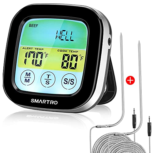 SMARTRO ST59 Digital Meat Thermometer for Cooking Oven BBQ Grill Kitchen Food with 2 Probes and Timer