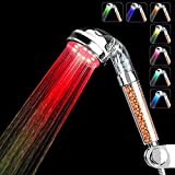 LED Shower Head, High Pressure Filter Handheld Shower Head, Water Saving Showerhead, 7 Colors Automatically No Batteries Needed Spray Handheld Showerheads for Repair Dry Skin and Hair Loss