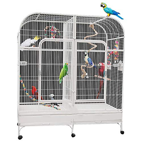 DXIN Jaulas para Pájaros Jaula para Pájaros Loros, Material De Acero Inoxidable, Mascotas Cría Lujo Extra Grandes, Espacio Grande, Cómodas Y Firmes Jaulas En El Hogar Fáciles Colgar