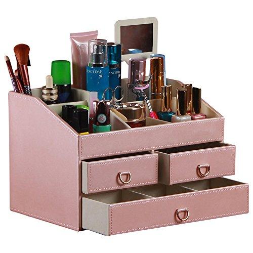 Boîte de rangement en cuir synthétique pour produits cosmétiques, cosmétiques, maquillage, bijoux avec miroir, cadeaux pour femme (grande rose)