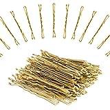 XCOZU 120 Pezzi Forcine per Capelli in Metallo Dorato per Acconciature da Donna e Ragazza, Forcine per Capelli Biondi con Scatola Trasparente (5 cm/1,96 pollici)