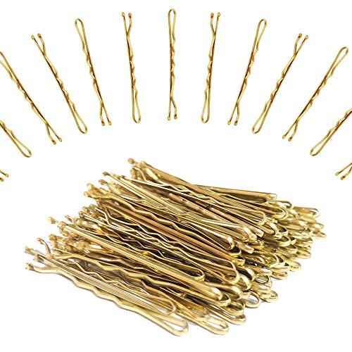 XCOZU 120 Stück Haarnadeln, Metall Gold Haarnadeln mit Aufbewahrungsbox für Mädchen und Frauen, Haarnadel Damen Blond Haarspangen Haarklammer 5 cm/1,96 zoll