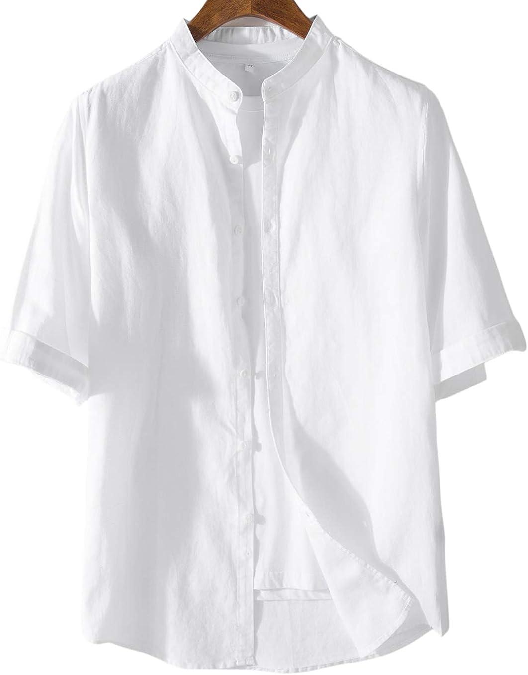 utcoco Mens Summer Linen 1/2 Sleeve Lightweight Button Front Crew-Neck Casual Shirt