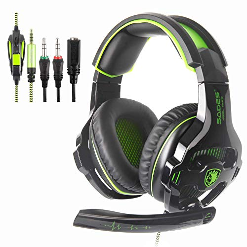 SADES SA810 Newest Version New Xbox One, PS4 Gaming Headset with 3.5mm Wired Over-Ear Noise Isolating Microphone Volume Control for Mac/PC/Laptop/PS4/Xbox one [Green und Black]